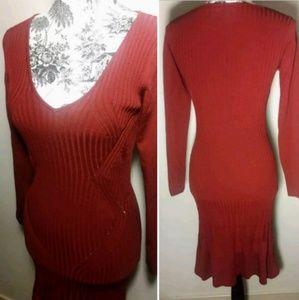 Red Long V neck Dress